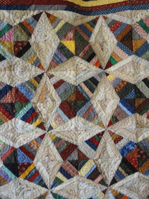quilting detail on Rocky Road quilt.