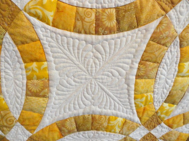 Quilting detail on Anniversary quilt.